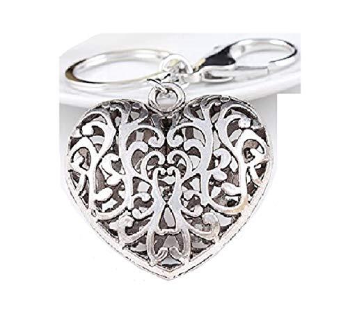 Miya®1stück hochwertige Herz förmige Schlüsselanhänger aus Metall, Vintage, liebevolles und feines Geschenk, süß glänzende Herz mit Schnitzwerk (Herz_02)