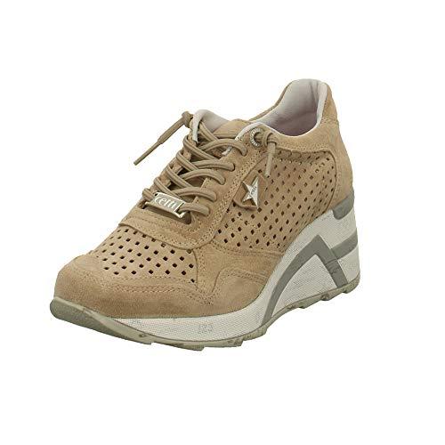 Cetti Damen Sneaker Sneaker mit Perforation C1143-SRA-nude beige 599147
