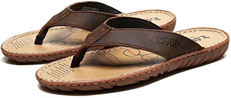 Men's Breathable Flip Flops, Large Size Sandals   Open Toe Slippers   Leather Upper   EVA Plastic Non-Slip Sole