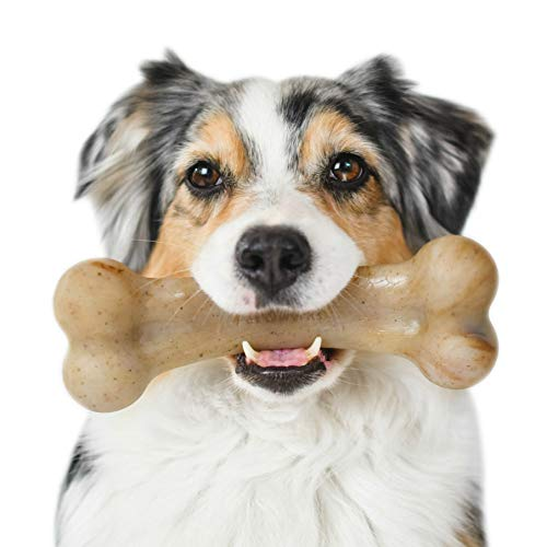 Pet Qwerks Real Bacon Infused BarkBone - Durable Toys for Aggressive Chewers, Tough Indestructible Extreme Power Chewer Bones | Made in USA - for Large & Medium Dogs (BBB1)