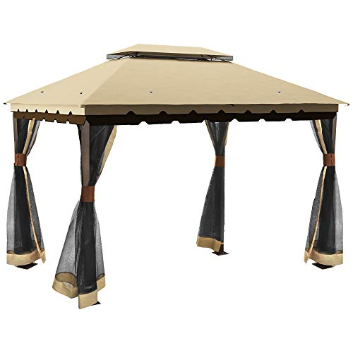 YITAHOME 10 x 12 ft Outdoor Double Roof Canopy Gazebo with Mosquito Netting,Soft-Top Garden Tent with Steel Frame for Patio, Backyard, Deck (10 x 12 ft)