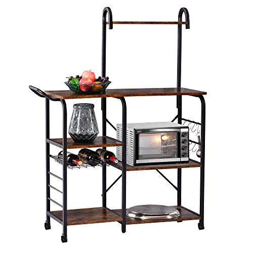 Sundale Outdoor Standing Baker's Racks Utility Storage Kitchen Shelf, Vintage Microwave Stand with 6 S-Hooks, Handle & Wheels
