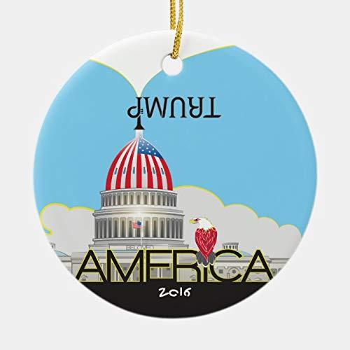 Weihnachtsdekoration, dekorativer Weihnachtsbaum-Anhänger, Trump-Trompete & US-Kapitol, Tag- und Nacht-Versionen, Keramik-Ornament, Urlaubsdekoration für Familie und Freunde