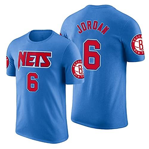 QJW Jordan Baloncesto Mangas Cortas Jersey Nets # 6 Retro Casual Sports Swingman Version Malla Camiseta Adecuado para Entrenamiento multijugador (S-2XL) 4-XXL