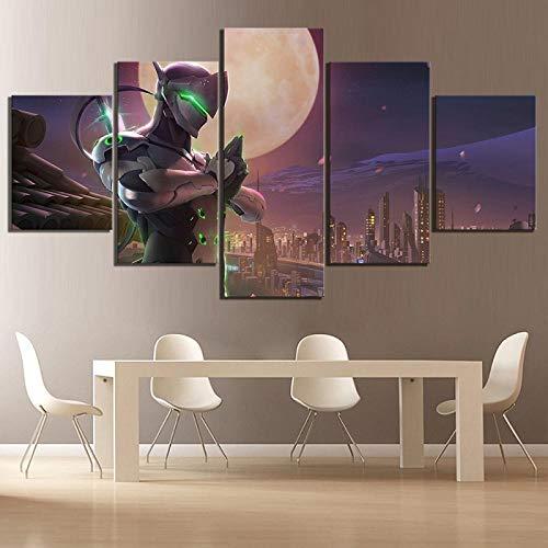 CHUADIAD Cuadros de Impresiones modulares decoración del hogar 5 Paneles Genji Overwatch Videojuego escenas Pinturas Lienzo póster Dormitorio Pared Arte-Sin Marco