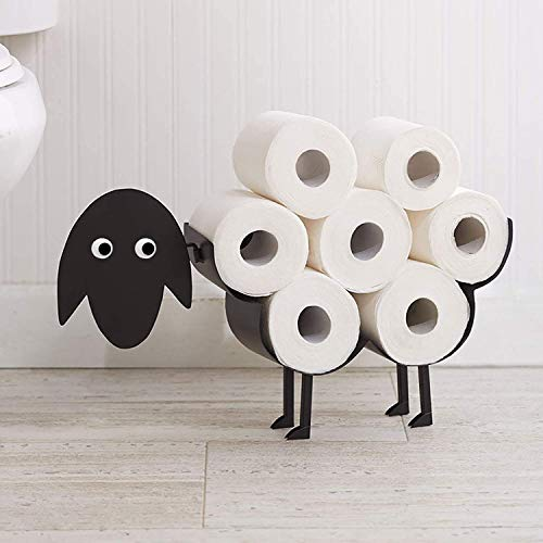 HomeZone Various Styles Novelty Toilet Roll Holder Animal Pipe Wood with Phone Holder Bathroom Accessories Decorative Home Decor Indoor Bath Room Loo Roll Holder (Sheep Toilet Roll Holder)