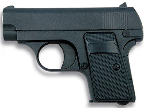 Corpo:In metallo. Azionamento:A molla. Peso:330g. velocità di tiro di68m/s - 223 fps (velocità testata con proiettili da 0,12g). Munizioni:Pallini in PVC, da6mm.