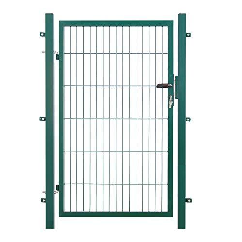 Koll Living Garden Gartentor für Stabmattenzaun, HxB: 120x100 cm, RAL 6005 grün - 200x50 mm Maschung - inkl. 60x40 mm Pfosten & Befestigungsmaterial - Schlüssel in dreifacher Ausführung
