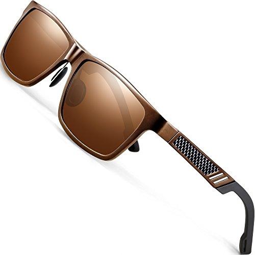 ATTCL Herren Stil Polarisierte Fahren Sonnenbrille Al-Mg Ultra leicht (Braun)