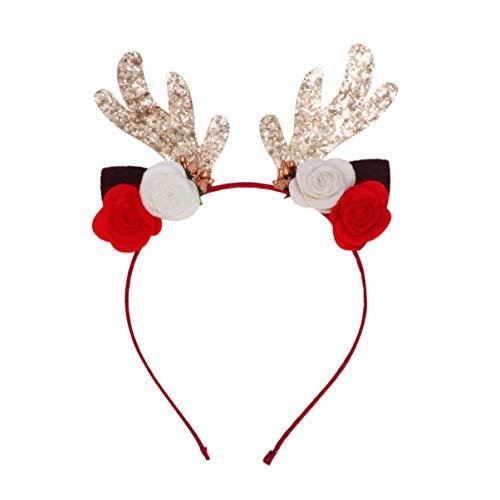 Toyvian diadema de renos de navidad diadema astas de ciervo orejas flor aro de pelo diadema accesorio para el cabello para fotografía de navidad mascarada