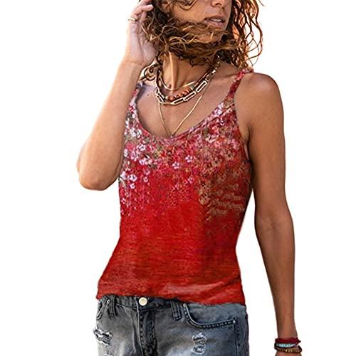 Elesoon Camisola Camis Tops Verano Flor Estampado Floral Boho Étnico Sin Mangas Tirantes Sling T-Shirt Blusa Tank, A-rojo, 46