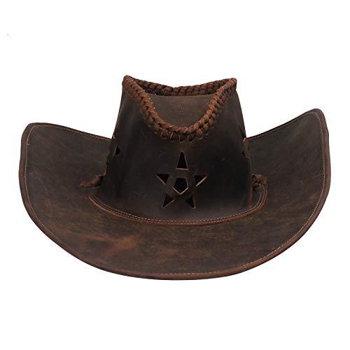NOBRAND Aleros Grandes Sombrero para El Sol Sombrero para Montar A La Pradera Masculino Sombrero para El Sol Retro De Piel De Vaca Sombrero De Vaquero del Oeste Americano Pesca