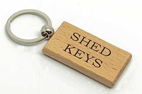 County Engraving SHED KEY'S Rectangle Wooden Keyring