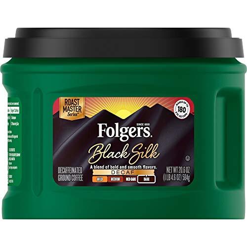 Folgers Decaf Black Silk, Dark Roast Ground Coffee, 20.6 Ounce
