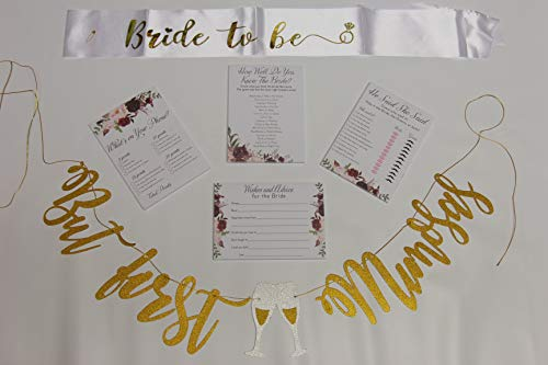 Floral Bridal Shower Games pack with But First Mimosas Banner and Bride To Be Sash | 4 Games including Wedding Advice Cards What's On Your Phone, He Said She Said, How Well Do You Know The Bride