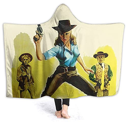 Cat Ballou Hooded Blanket Soft Cozy Flannel Warm Lightweight Throw Blanket for Sofa, Bed, Home, Office, Travel 50'X40'