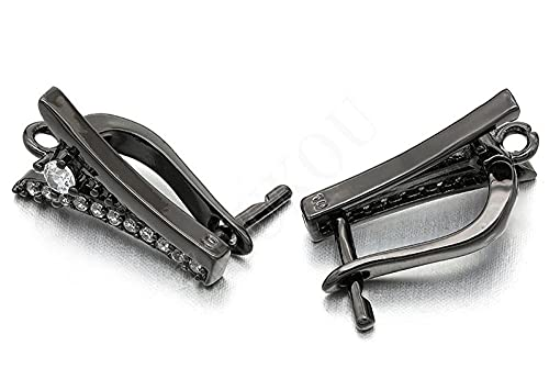 XAOQW 1 Par 10 * 17mm Hecho a Mano de latón cúbico Zirconia Accesorios de Pendientes de Bricolaje, Agujero: 2 mm, Pistola de Color Negro Mezclado Plateado