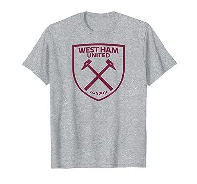 West Ham United Maroon Crest T-Shirt Heather Grey