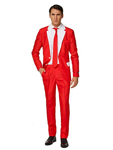 Suitmeister Christmas Suits for Men – Santa Outfit – Ugly Xmas Sweater Costumes Include Jacket Pants & Tie – M