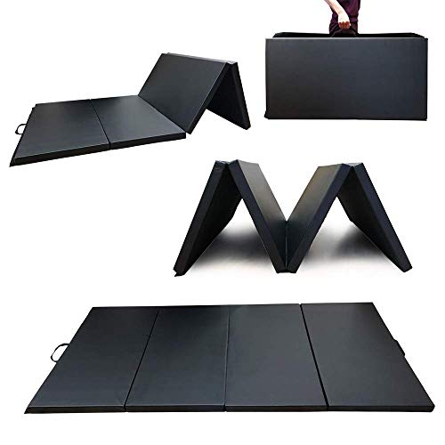 Angel Canada 4 Panel PU Leather Folding Gymnastics Gym Fitness Exercise Aerobics Mat with Handle, Tumbling Mats for Stretching Yoga Cheerleading Martial Arts (Black)