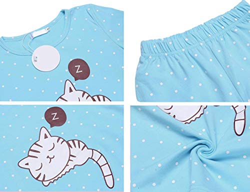 Girls Clothing Sets 100% Cotton Cat Pattern 2 Piece Long Sleeve Sets