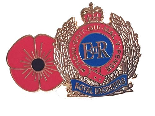 Royal Engineers and Poppy Lapel Remembrance Badge Pin