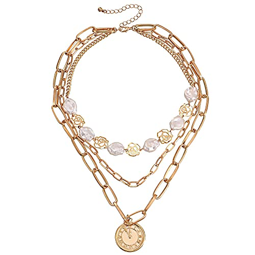 Colgante Multicapa Irregular Perla Hueco Flor Reloj Moneda Colgante Collar Mujer
