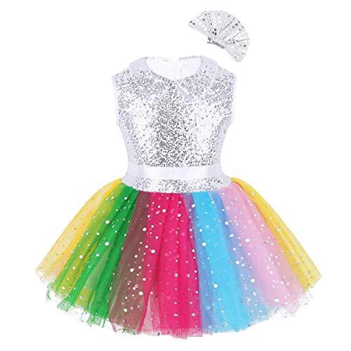 IEFIEL Disfraz Bailarina Nia Vestido de Danza Ballet Fiesta Lentejuelas Tut Colores Arco Iris Ropa para Baile Actuacin Plateado 5-6 Aos