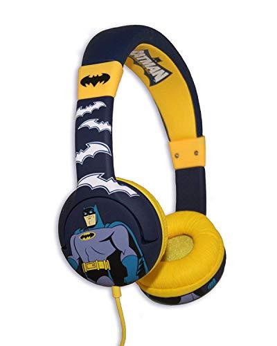 """OTL Technologies Junior Kinder Kopfhörer Batman \""""Brave und The Bold\"""" (Gepolsterte Bügel, Lautstärkenbegrenzung auf 85 DB, Buntes DC Design, für Jungen und Mädchen) Blau/Gelb"""