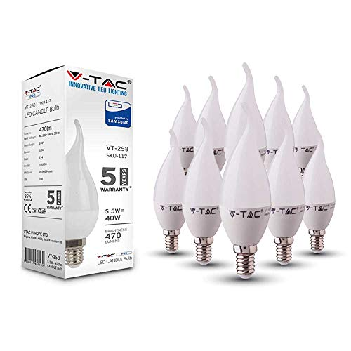 V-TAC E14 LED Lampe, Kerzenform, 7W (ersetzt 45W), 4000K, plastik - 10er-Pack