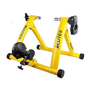 Deuter interior bicicleta estática, portátil resistencia magnética bicicleta ejercicio rueda soporte con reducción de ruido, Amarillo