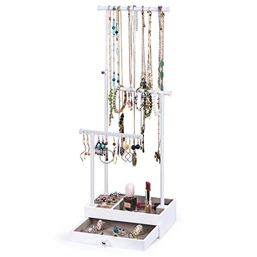 Love-KANKEI Necklace Holder Jewelry Tree Stand Adjustable Height with Large Storage for Necklaces Bracelets Earring Rings Drawber Jewelry Organizer Jewelry Display White and White