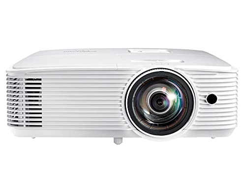Optoma GT770 Short Throw Projector for Gaming & Movies | HD Ready 720p + 1080p Support | Bright 3600 Lumens for Lights-on Viewing | 3D-Compatible | Speaker Built in, White (Renewed)