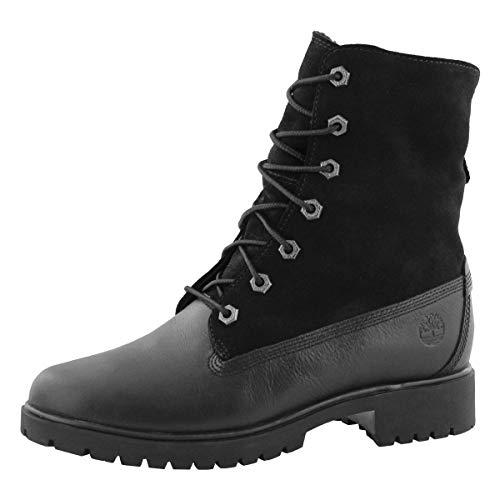 Timberland Women's Jayne Waterproof Teddy Fleece Fold Down Fashion Boot, Black Full Grain, 9 M US