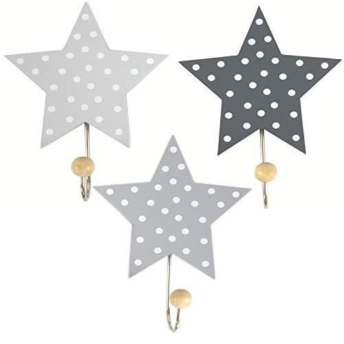 LS-LebenStil Kinder Kleiderhaken Set 3 Sterne Grau Weiß 11x11x15cm Wandhaken Garderobe