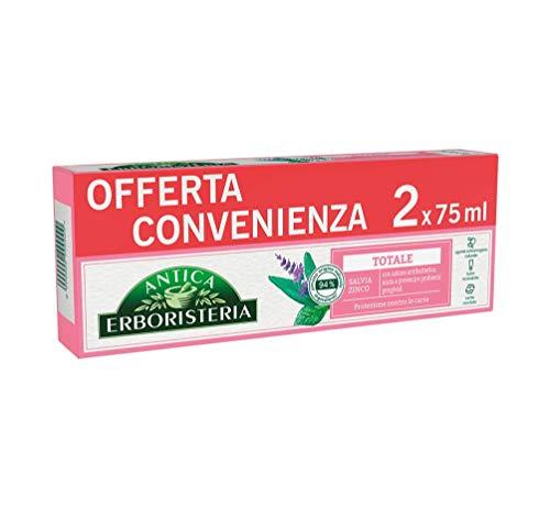 Antica Erboristeria Dentifricio Totale, con Ingredienti di Origine Naturale, con Salvia e Zinco, Confezione 2 Pezzi x 75 Millilitri, 150 Millilitri