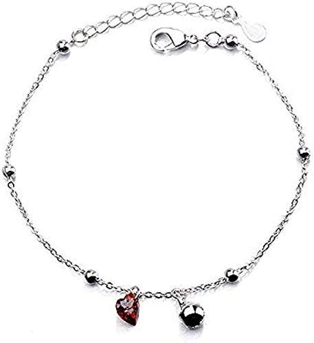 Yiffshunl Collar, Pulsera de Moda, Pulsera para Mujer, versátil, Granate Rojo, en Forma de corazón, Pulsera de Amor, Cuentas, Pulsera, joyería