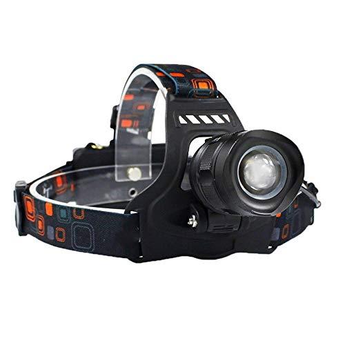 Linterna Frontal Faro LED de Alta Potencia 5000LM XM-L2 Faro 5-Modo Zoom Head Torch 18650 Linterna Recargable A