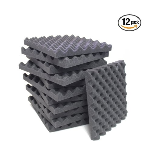 12 Pack Charcoal Eggcrate Acoustic Foam Sound Proof Foam Panels Noise Dampening Foam Studio Music Equipment 1.5