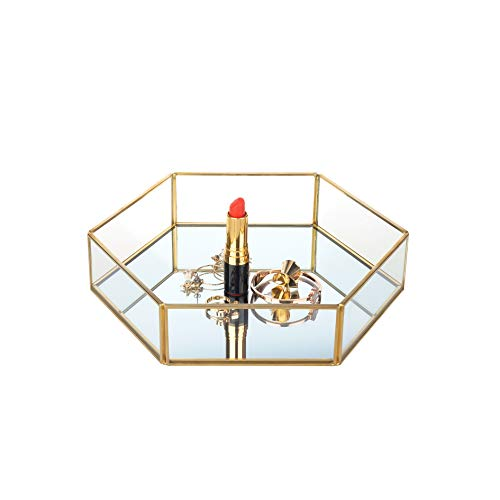 Feyarl Gold Clear Glass Jewelry Trinket Tray Dish Plate Ornate Ring Earring Cosmetic Vanity Perfume Tray Decorative Tray for Display Dressing Table (Hexagon)