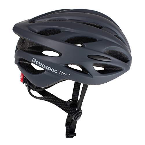 Retrospec CM-3 Bike Helmet with LED Safety Light Adjustable Dial and 24 vents, Matte Graphite