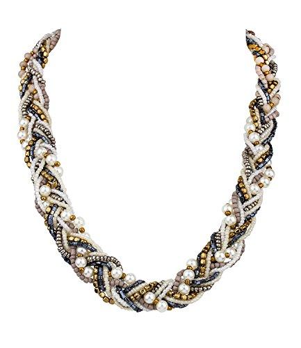 SIX Trend, Damen Halskette, geflochtene Oktoberfest Statement-Kette mit Kunstperlen in Weiß, Blau, Grau, Gold (458-090)