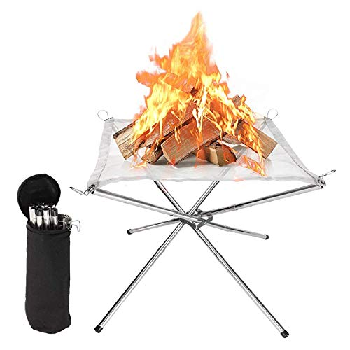 GuDoQi Outdoor Fire Pit, Collapsible & Portable Campfire Pit, Stainless Steel Mesh Fireplace, Lightweight Travel Fire Pit, Folding Fire Pit for Patio, Garden, Backyard, Camping, BBQ