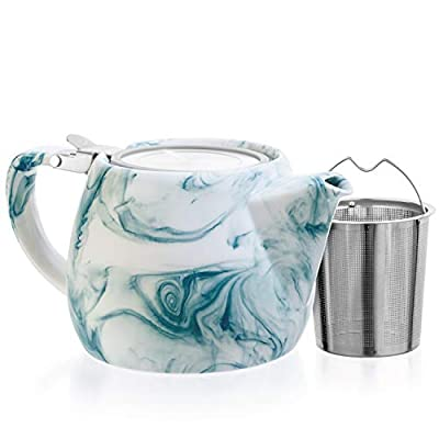 Tealyra - Marble Porcelain Teapot Turquoise - 22-ounce (2-3 cups) - Unique Design - Extra-Fine Infuser and Stainless Steel Lid - Infuse Loose Leaf Tea or Bags - 650ml
