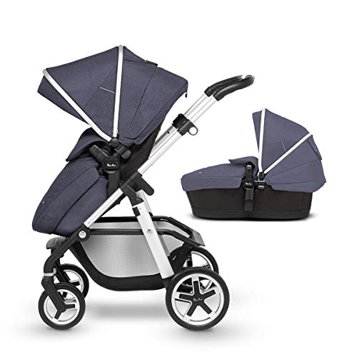 Silver Cross Pioneer Fully Adjustable 2-In-1 Baby Pram and Pushchair, From Birth to 25 kg, With Accessories – Midnight Blue