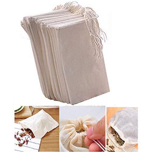 Fomccu - 10 bolsas de muselina de algodón con cordón reuti