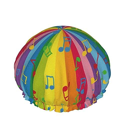 Gorro de ducha con notas musicales coloridas para mujer, pelo largo, impermeable, de lujo, reutilizable, para dormir, Spa, salón, capó