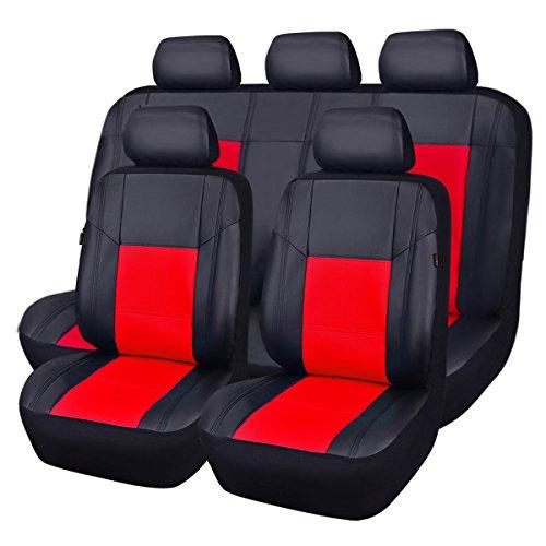 CAR PASS Skyline - Fundas de piel sintética para asientos de coche, ajuste universal para coches, SUV, vehículos, esponja compuesta de 5 mm en el interior, compatible con airbag (11 unidades, negro de