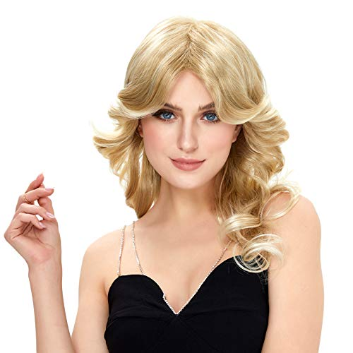 STfantasy 70s Feathered Wigs Disco Costume Blonde Natural for Women Party Fashion Accessory
