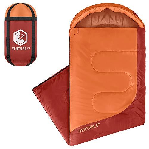 VENTURE 4TH Sleeping Bag para Verano, Tamaño Regular – Saco de Dormir Ligero, Cómodo y Resistente al Agua – Ideal para Mochila, Camping, Aventuras & Senderismo – Naranjo/Rojo
